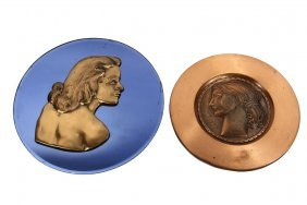 (2) Art Deco Medallion Portraits - Bronze Profile