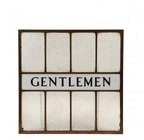 "Restroom Door Window - Circa 1900 ""gentlemen"" Bronze"