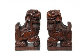 Pair Of Japanese Wood Carvings - Guardian Lion Dogs Or