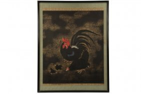 Japanese Scroll - 19th C. Painting Of Rooster, Hen And