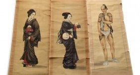 (3) Japanese Scrolls - Late 19th C Meiji Portraits,