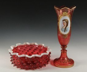 (2 Pcs) Cranberry Glass - Both 19th C, Including: