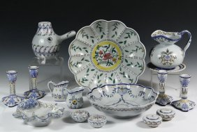 Collection Of (48 Pcs) Hand Painted China In (3) Trays