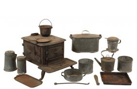 "Toy Cook Stove - ""little Eva"" Miniature Cast Iron"
