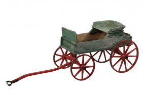 19th C. Child's Riding Wagon - Miniature Wooden
