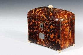 Tortoiseshell Tea Caddy - 19th C. English Dome Top