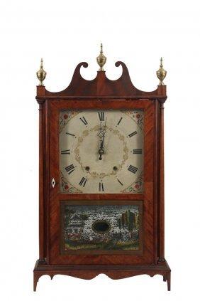 Pillar & Scroll Shelf Clock - 19th C. Mahogany Case