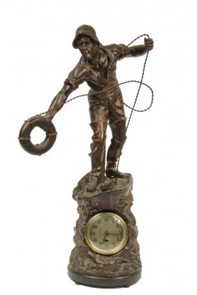 Nautical Themed Clock - Simulated Bronze Spelter Figure