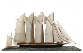 Ship Model - Waterline Model Of A Four-mast Schooner