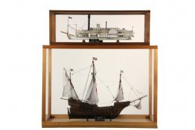 (2) Cased Ship & Boat Models - Both By Milton F. Gowen