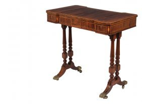 English Gaming Table - Regency Period Inlaid Rosewood