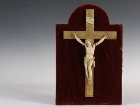 Carved Crucifix - 18th C. French Ivory Carving Of