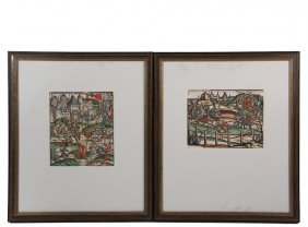 (2) Hand Colored Woodcuts - German, 16th C., Possibly