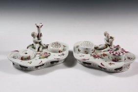 Pair Of Austrian Inkwells - Late 18th C. Royal Vienna