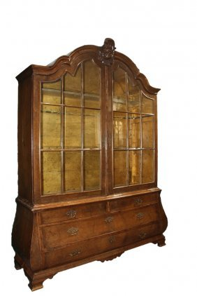 Antique French Hutch - Provincial Walnut Glass Front