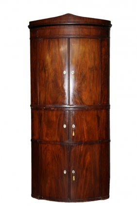Biedermeier Corner Cabinet - Two Section Figured