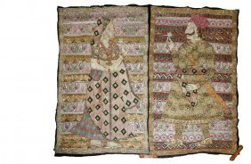 Pair Of Unusual Indian Embroideries - Featuring A Man