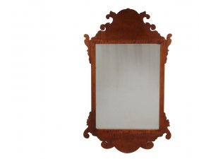 Country Chippendale Looking Glass - New England Curly