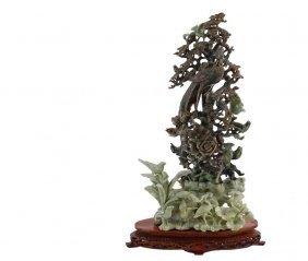 Chinese Jadeite Tree Sculpture - Two-tone Sculpture
