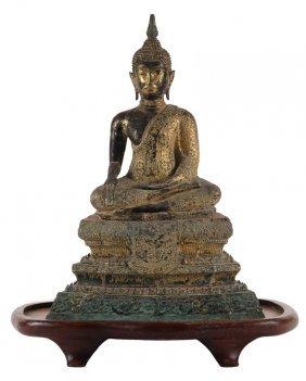 Asian Bronze Sculpture - Gilded Bronze Seated Buddha In