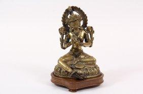 Chinese Bronze Sculpture - Gilded Bronze Seated Buddha