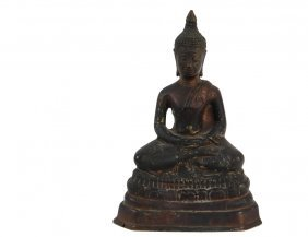Asian Bronze Sculpture - Bronze Seated Buddha In