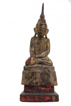 Asian Wood Sculpture - Gilded Wood Buddhist Temple