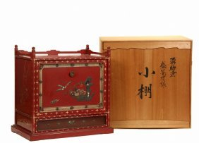 Chinese Lacquered Cabinet In Original Shipping Crate -