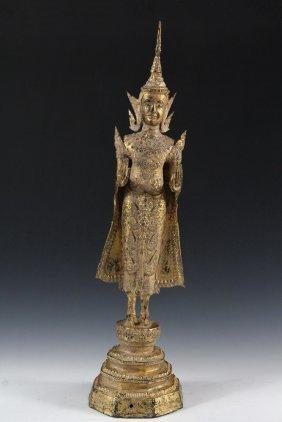 Thai Religious Statue - Ayutthaya-style Gilt Sand-cast