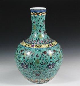 Large Chinese Bottle Vase - Qing Daoguang Porcelain