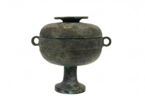 Chinese Bronze Ritual Food Vessel - A Covered Dou, Han