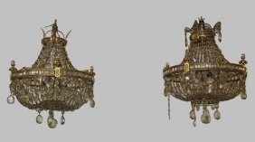 Pair Of Small French Crystal Chandeliers With Ceiling