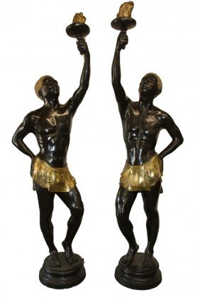 Pair Of Life-sized Bronze Entry Sculptures - A Pair Of