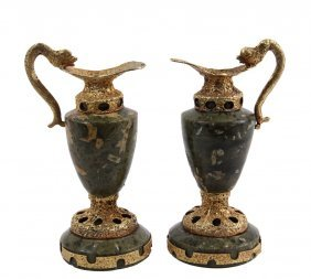An Unusual Pair Of Miniature Ewers - Continental,