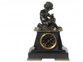 French Slate Clock With Bronze Sculpture - Circa 1880