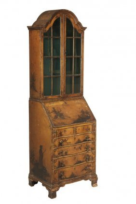 Chinoiserie Secretary - 19th C. Vintage Two-part Lady's