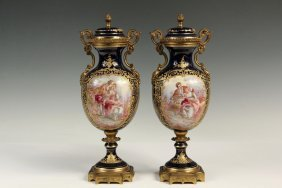 Pair Of Sevres Style Porcelain Vases And Covers -