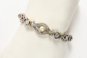 Bracelet - Edwardian 18k Gold, Platinum, Diamond And