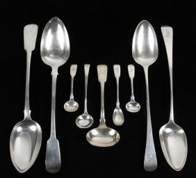 Spoons - Group Of (9) English Georgian Period Sterling