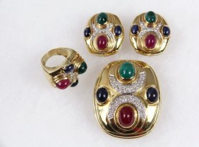 (3) Pc Jewelry Suite - 18k Yellow Gold, Ruby, Emerald
