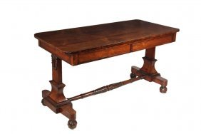 Two-drawer Library Table - 19th C. Oblong Library Table