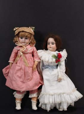 "(2) Bisque Head Dolls - Both Circa 1910, Including: 24"""