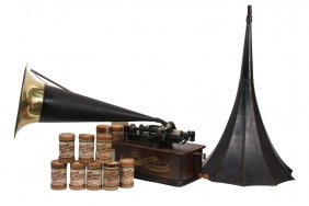 Edison Home Phonograph W/ (2) Horns, (15) Cylinders -