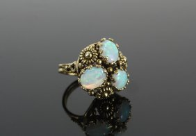 Lady's Ring - 14k Yellow Gold And Opal Ring, With (3)
