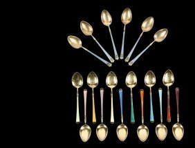 Spoons - (18) Gilt Sterling Silver And Enamel Decorated
