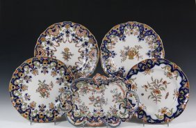 (5) French Wall Plates - French Faience In The 'rouen'