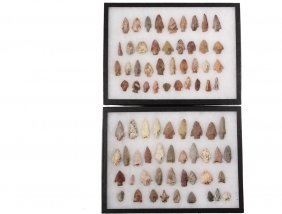 (76) Native American Projectile Points In (2) Display