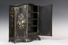 Japanned Miniature Cabinet - Victorian Arch Top Armoire