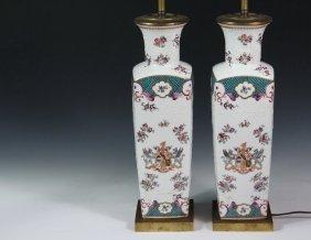 Pair Of Parisian Porcelain Lamps - Samson, Edmé Et Cie