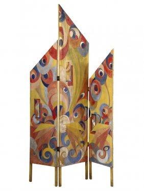Art Deco Folding Screen - Three-fold Asymmetrical Folk